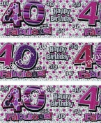 Wall Banner Holographic - 40 and Fabulous Happy Birthday / Birthday Party Decorations