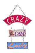 Retro Vintage 'Crazy Cat Lady' Hanging Metal Wall Plaque Sign