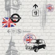 NEW LUXURY RASCH LONDON UNDERGROUND MINI UNION JACK WHITE BRICK WALLPAPER 234800