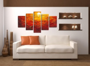 Pictures on canvas length 160cm height 80cm Nr 5506 red ready to hang, picture brand original Visario!
