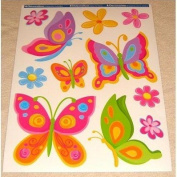 BUTTERFLY & FLOWER Wall Stickers for Girls Bedroom, Childrens Playroom & Babies Nursery