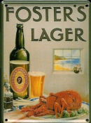 FOSTERS LOBSTER Small Nostalgic Vintage Metal Tin Pub Sign