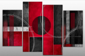 Large Red and Black Abstract Canvas Picture Artwork 4 pieces multi panel split canvas completely ready to hang, hanging template included for easy hanging, UK company 100cm width 70cm height