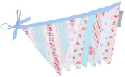 Shabby Chic Duck Egg and Pink Fabric Bunting 3m