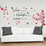 Walplus Huge Flower Blossom/ Butterflies/ Children Live Laugh Love Vivid Wall Stickers