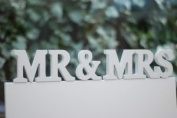 RJB Stone Mr and Mrs, Wooden Letters in Cream