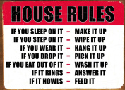 House Rules, Decorative Steel Wall Plaque. A humorous, fun, novelty, christmas gift