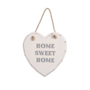 HOME SWEET HOME WHITE HANGING HEART PLAQUE SHABBY CHIC