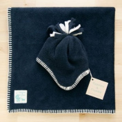 Tuppence and Crumble soft fleece Baby Blanket and Matching Tassel Hat Navy 0-3 months