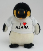 Personalised penguin plush toy with I love Alana T-Shirt