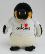 Personalised penguin plush toy with I love Cupcake T-Shirt