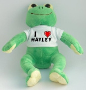 Plush Frog with I Love Hayley T-shirt