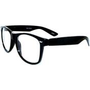 Wayfarer Style Glasses, Clear Lenses In Black