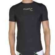 PhysioRoom Compression Shirt Short Sleeved Base Layer Under Armour Black Temperature Control - Enhances Athletic Performance & Helps Prevent Injuries - Lightweight & Breathable - Comfort & Protection