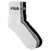 Mens 3 Pack Fila Crew Sport Socks White - Black - Grey