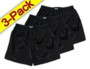 (XL) 3-Pack Black Boxer Shorts Underwear Men Sleepwear Satin