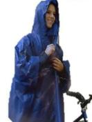 BLUE HOODED REUSABLE LIGHTWEIGHT RAIN PONCHO emergency coat