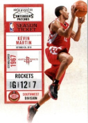 2010 11 Playoff Contenders Plates & Patches Basketball Card # 39 Kevin Martin Houston Rockets In a