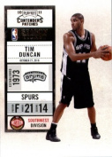 2010 11 Playoff Contenders Plates & Patches Basketball Card # 44 Tim Duncan San Antonio Spurs In a