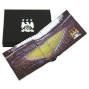 Luxury Manchester City Black Leather Wallet Stadium Detail - Executive Gift 801