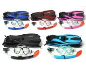 Mask Snorkel Fins / Flippers PVC Diving Set (Adults) - Scuba Dive Snorkelling Sets