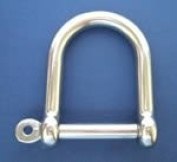 Stainless Steel wide Jaw D Shackle with Screw Collar Pin - 8mm