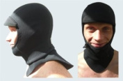 NCW Cornwall 3mm Titanium Neoprene Full Surf Hood Balaclava Cap. Bibbed Tuck In Neck Gusset & Drawstring Face