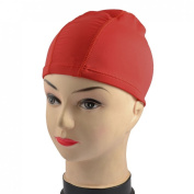 Red Elastic Polyester Swimming Bathing Swim Cap Hat for Child