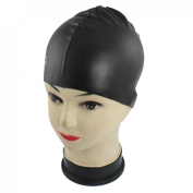 Black Soft Silicone Stretchable Swim Swimming Cap Hat for Adults
