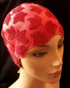 Ladies Red Swimming Bathing Cap Swim Hat Small Fitting Fashy Retro Vintage Style