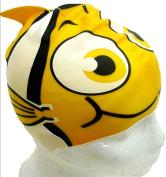 Yellow Gold Fish, Swim Cap for children