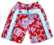 Zip Zap Zooom Mens Red Surf Red Flower Swim Board Sport Swimming Shorts