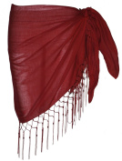Plain Half Deep Red Cotton Sarong With Tassels & Beads