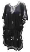 La Leela Black Chain Stitched Embroidered Caftan Kaftan Beach Swim Cover up