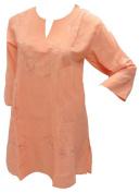 La Leela Light Orange Chain Stiched Embroidered Kurta Beach Swim Cover Up