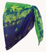 La Leela Chiffon Vintage Car Design Sheer Beach Swim Sarong Pareo Multi Blue