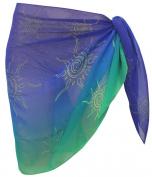 La Leela Chiffon Sun Printed Sheer Beach Swim Sarong Pareo Wrap Blue
