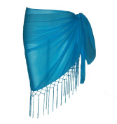 Plain Half Turquoise Cotton Sarong With Tassels & Beads