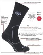 eXPANSIVE TREKKING PROTECT SOCKS HIKING Kevlar Merino Wool Coolmax DARK GREY 039/02 size UK 9-12
