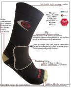 eXPANSIVE TREKKING PROTECT SOCKS Kevlar BLACK size UK 2.5-5 (EUR 35-38) Merino Wool Coolmax