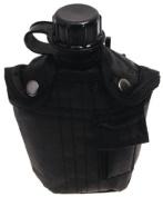 US plastic bottle, black, 1l, nylon cover