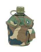 US Army Water Bottle Canteen with Woodland Camo Cover