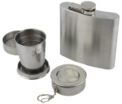 Yellowstone Hip Flask and Packable Cup Set - Silver
