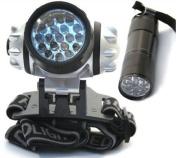 19 & 9 LED HEADLAMP ALUMINIUM TORCH POCKET ULTRA BRIGHT LIGHT WATERPROOF LAMP