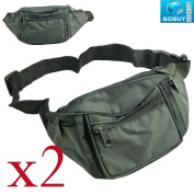 Pack of 2 - Bum Bags with 4 Zipped Pockets - Adjustable Waistband