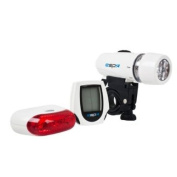 RSP Super bright front and rear light with cycle computer White