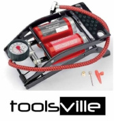 REDLINE 24984 DOUBLE BARREL FOOT PUMP TYRE INFLATER WITH HOSE CAR TYRES AIRBEDS