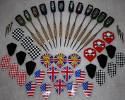 Darts of 12 tournament arrows with steel points + accessories
