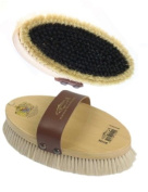 Large Body Brush, 19mm Trim - Varnished wooden back with leather strap. Natural Colours