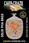 50 Solid Film Pva Bags 60 X 100 mm